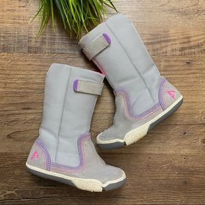 Plae Camille Purple Shimmer Suede Boots 8